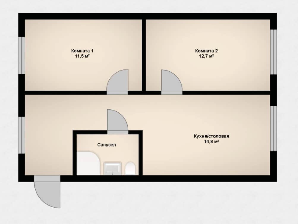 2-комнатная квартира в клубном доме София